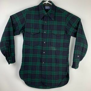 70's Pendleton Wool Plaid Flannel Button Up Shirt